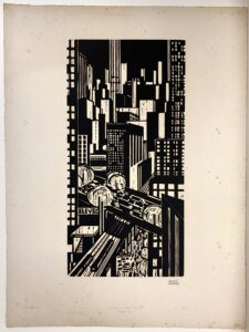 Black and white cityscape, lights in the windows of skyscrapers and on trians